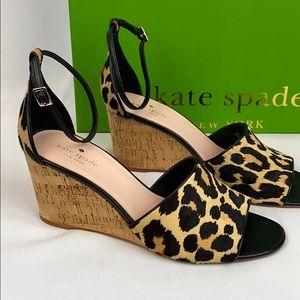 """Kate Spade """"Lonnie"""" leopard print hair calf wedge"""